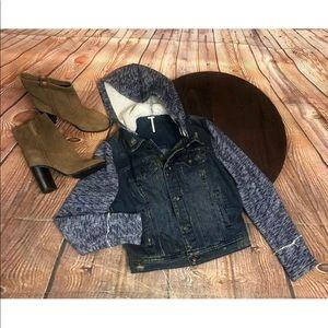 Free People Denim Blue Jean Jacket Knit Medium